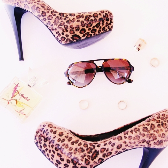 calf skin leopard print high heel pumps
