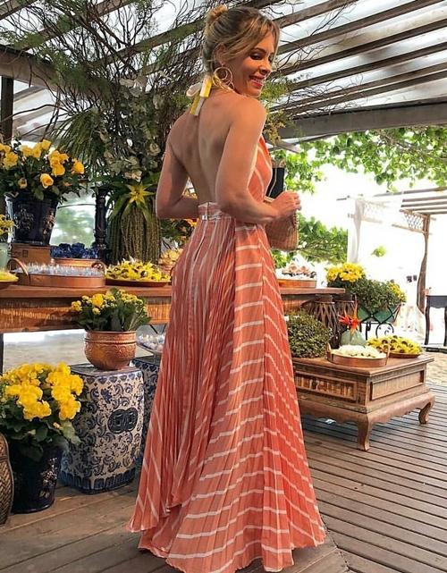 vestido longo coral listrado