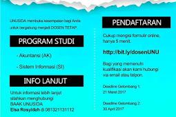 Lowongan Dosen Tetap Akuntansi dan Sistem Informasi Universitas Nahdlatul Ulama Sidoarjo (UNUSIDA) 2017
