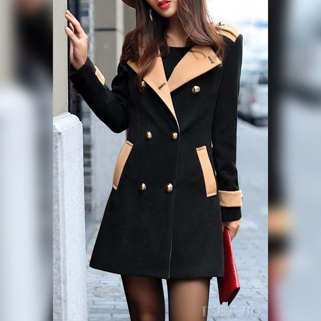 Γυναικείο μαύρο παλτό SONETA