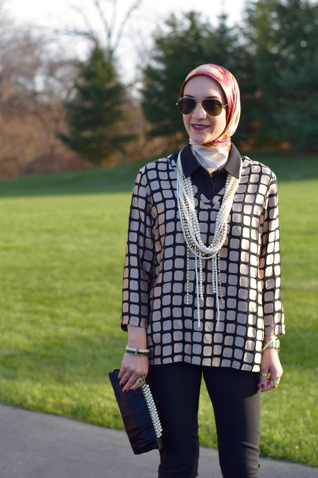 A Day In The Lalz; Fashion Blogger; Modest Fashion; Modest Style; Holiday Party Look; Gold and Black; Bauble Bar Chain Kimmy Strands; Pearl Necklace; Hijab Fashion