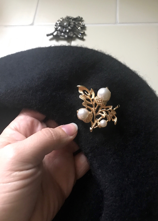 vintage brooch on beret
