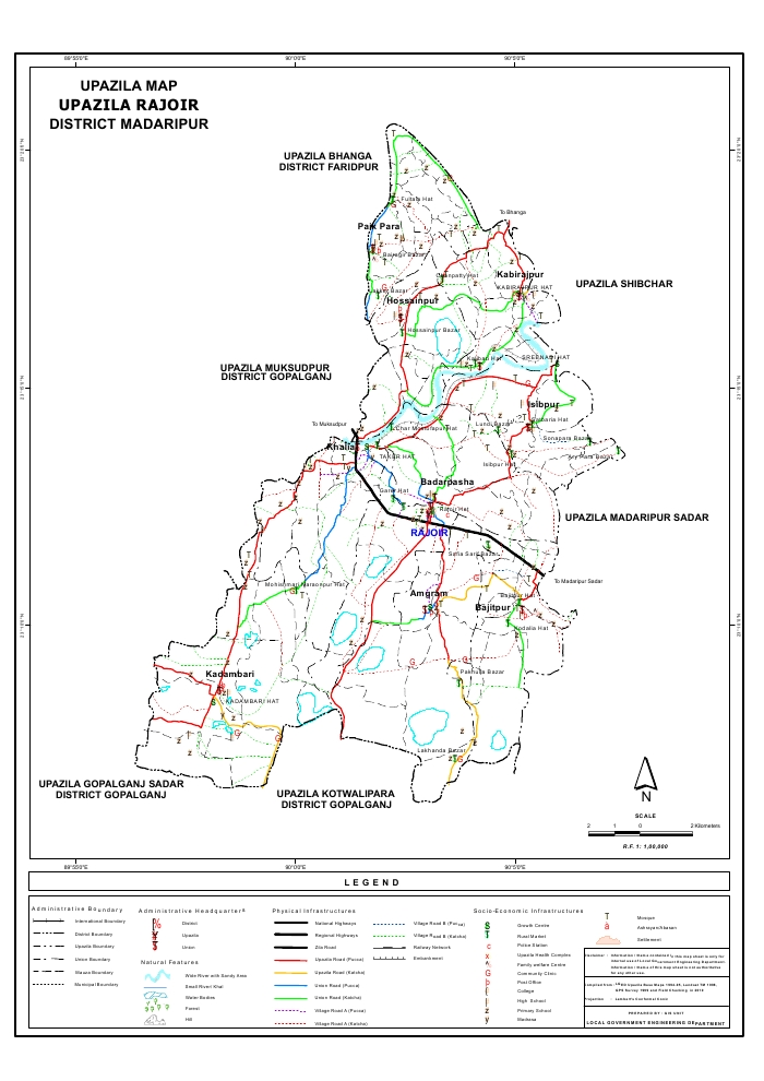Rajoir Upazila Map Madaripur  District Bangladesh