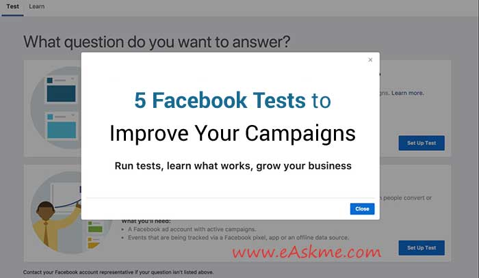 5 Facebook Tests That Can Improve Your Campaigns: eAskme