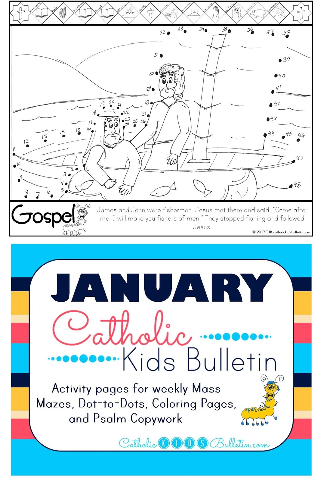 4 Matthew 4.12-23 John and James are Fisherman Coloring page Catholic Kids Bulletin