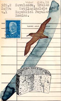 deleuze gull bird postage stamp danish blue cheese wheel library card mail art dada Fluxus collage