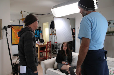 Left to right: Alun Lee (1st AD), actor Natalie Lander, Director Duane Andersen