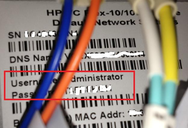 HP VC factory set passwords, DNS name and Serial number