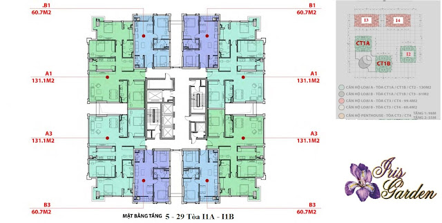 Mặt bằng tòa I1A - I1B chung cư Iris Garden