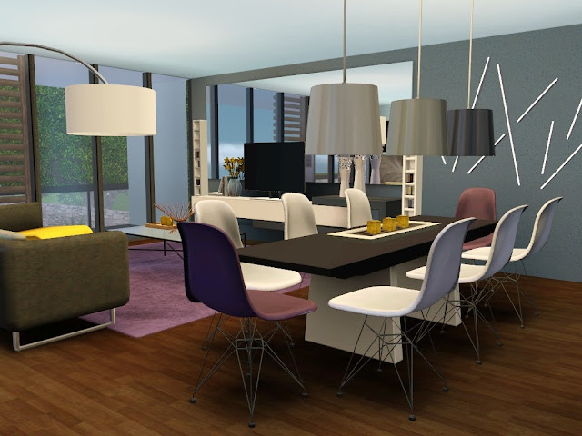 décoration contemporaine maison sims 3