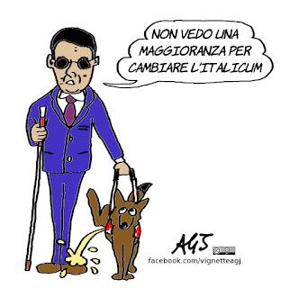 Renzi, italicum, opposizioni, alleati. vignetta, satira