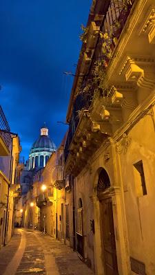 The cupola of Duomo San Giorgio Ragusa Ibla at night.