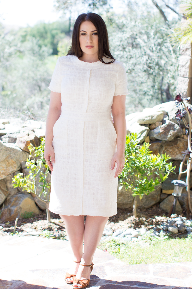 BANANA REPUBLIC WHITE TWEED DRESS