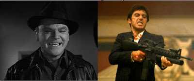 James Cagney as Cody Jarrett (left) and Al Pacino as Tony Montana, collage