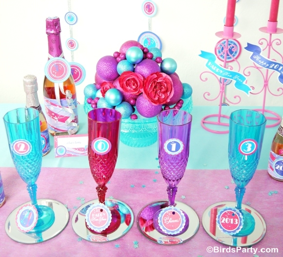 Pink & Teal Glam New Year's Eve Party & Free Printables - BirdsParty.com