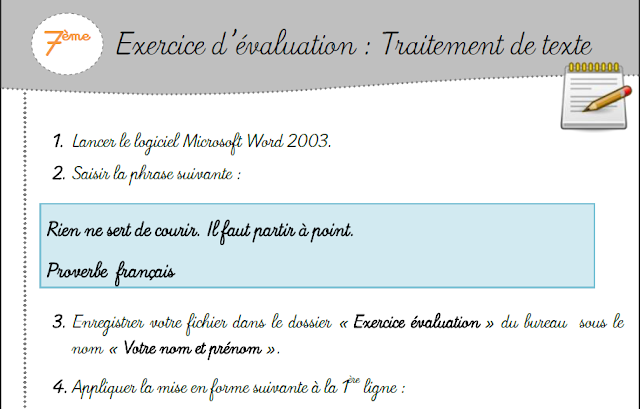L Informatique Aux Colleges Tunisiens Exercice D Evaluation Traitement De Texte