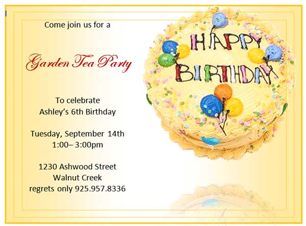 invitation birthday template word - free party invitation templates word