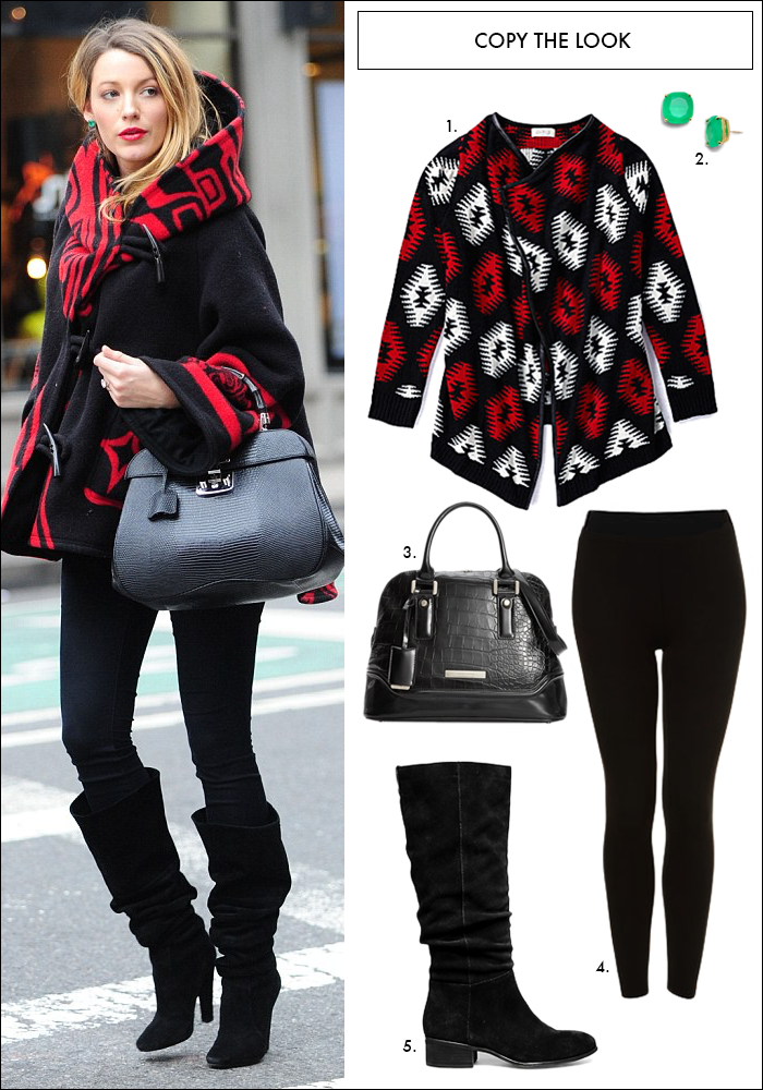 tribal sweater, blake lively, gifts less than $50, dillards, nordstrom, hue leggings, slouchy boots, satchel