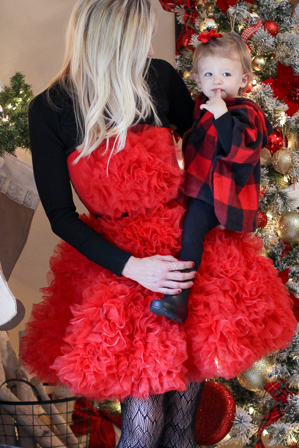 red and black christmas outfit for mother and daughter