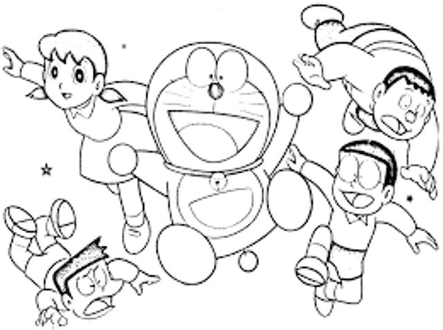 Belajar Mewarnai Gambar Doraemon Nobita Dan Teman Temannya
