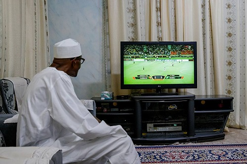 President Buhari watching the Return Leg of Nigeria-Cameroon World Cup  Qualifier Match in Yaounde Cameroon from his home in Daura Katsina on 4th Sept 201