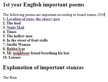 1st year english poems explanation of stanzas - Zahid Notes