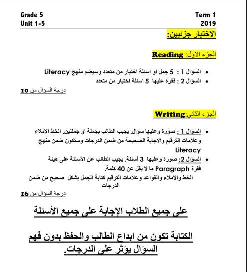 مراجعة شاملة في اللغة الانجليزية للصف الخامس