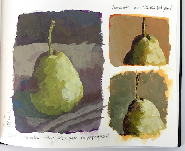 pear value studies in gouache and acrylic