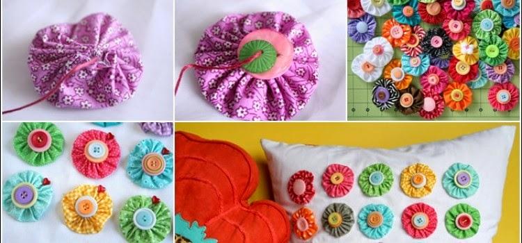 Multi Colored Yo-Yo Pillow Tutorial