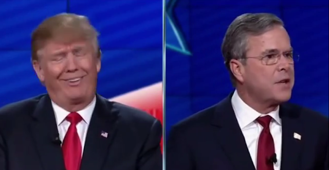 CNN Republican debate Donald Trump Jeb Bush splitscreen facial expression