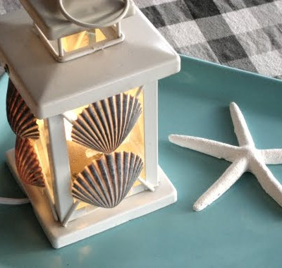 Scallop Shell Candle Lantern Metal