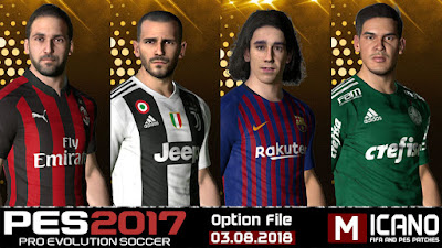 PES 2017 Next Season Patch 2019 Option File 03/08/2018 Season 2018/2019