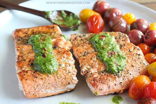 Easy Pan-Seared Salmon with Chimichurri Sauce (Gluten-Free, Paleo & Whole30)