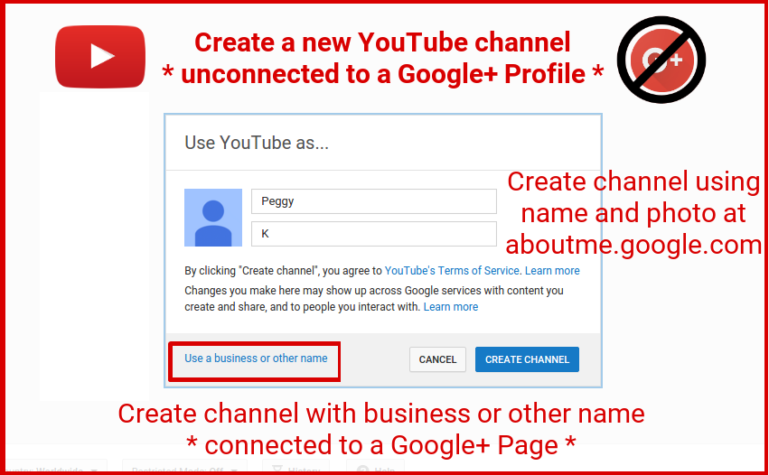 Create a new YouTube Channel without Google+