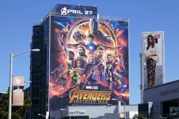 Giant Avengers Infinity War movie billboard