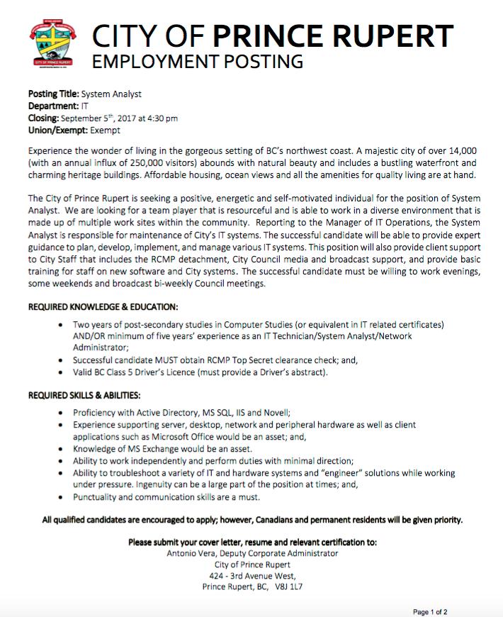 The Full Job Posting Can Be Reviewed Below: