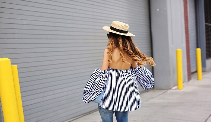 Chicwish Blithe Bubble Off shoulder Top in Stripes, blank denim ripped skinny jeans, quay pink my girl sunglasses, gigi new york crossbody bag, sole society platform sandals, Chanel necklace, Summer outfit ideas, nyc street style, nyc fashion blog