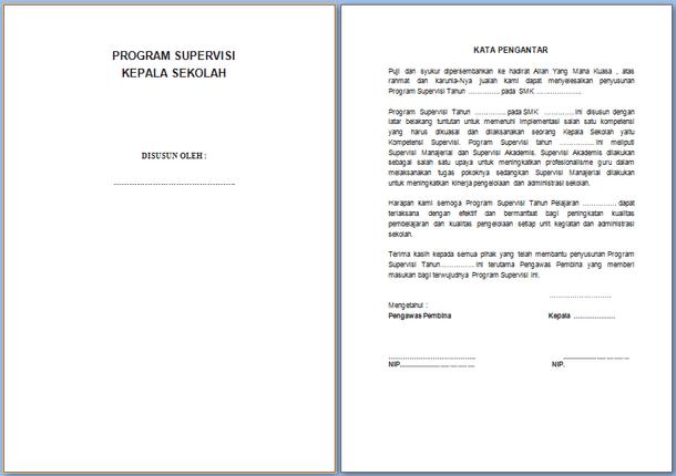 Program dan Format Instrumen Supervisi Kepala Sekolah SMK