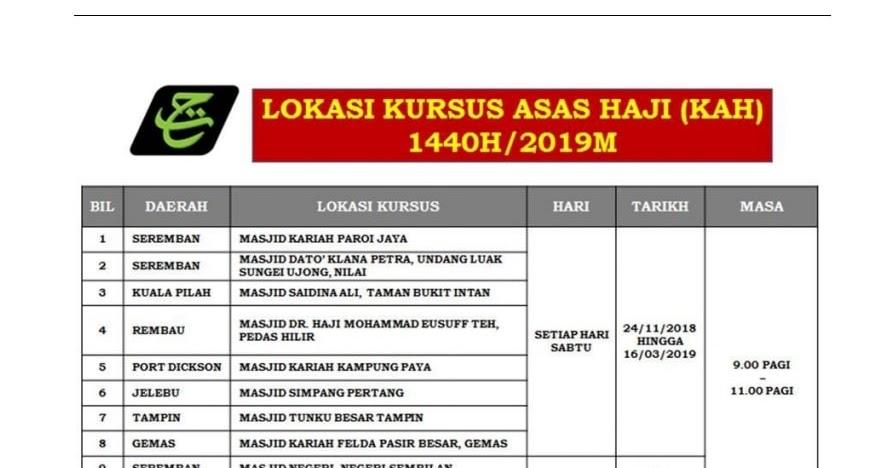Jadual Kursus Asas Haji 2019 Kah Nota Kursus Haji Full Sayidahnapisahdotcom