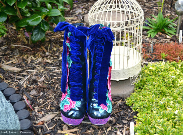 Irregular Choice velvet ribbon laced boots from front