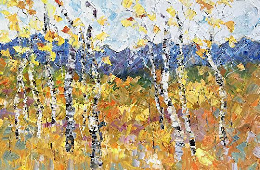 "Palette Knife Aspen Tree Colorado Landscape Painting ""Fall Blossoms"" by Colorado Impressionist Judith Babcock"