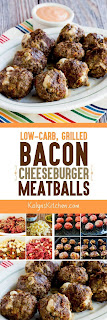 Low-Carb Grilled Bacon Cheeseburger Meatballs found on KalynsKitchen.com