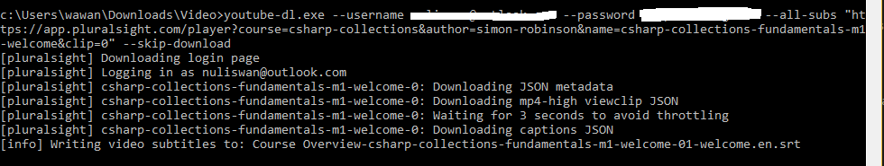 My First blog: Downloading subtitle from Pluralshight
