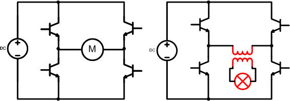 H Bridge circuit with solid state switches with different loads