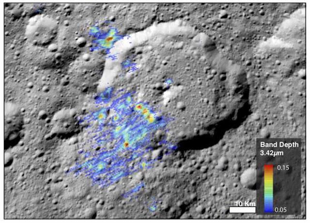 Renderização mostra a quantidade de matéria organica encontrada em Ceres