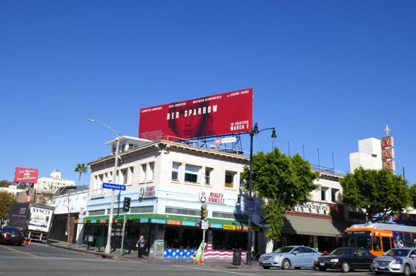 Red Sparrow film billboard