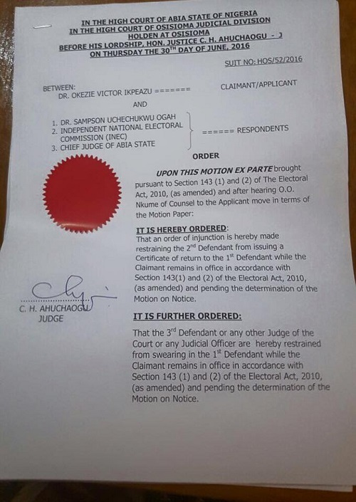 Abia Guber: CONFUSION As INEC Issues Cert. of Return To Uche Ogar, Cour Order Stop Of Swearing In
