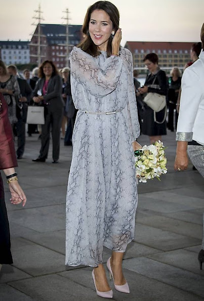 Crown Princess Mary wore a Zimmermann Seer Snake Dress, wore a Gianvito Rossi pump