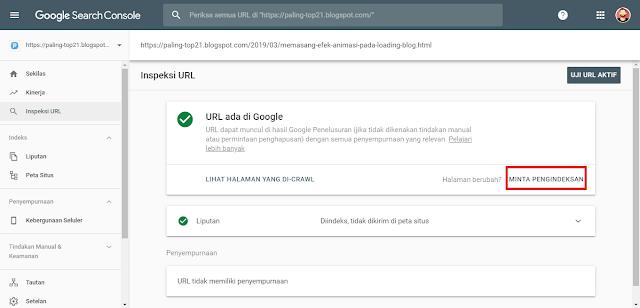 Cara Index Artikel Blog Ke Google Search Console Baru Agar Postingan Muncul Di Pencarian Google