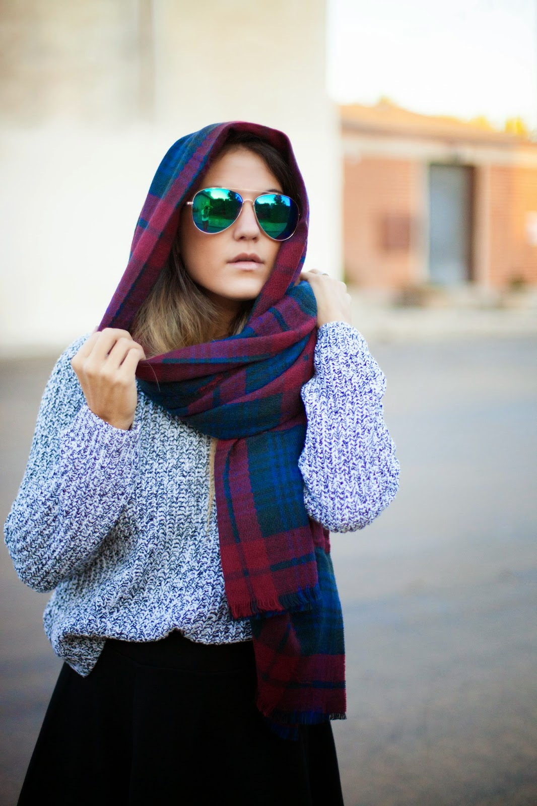 plaid hooded scarf style